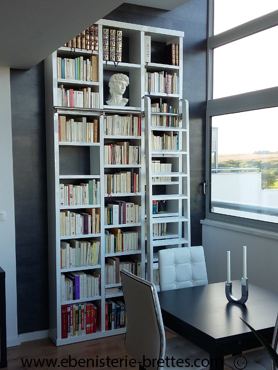 Fabrication pour amiens d 39 une biblioth que blanche contemporaine ebeniste - Bibliotheque contemporaine laquee design ...