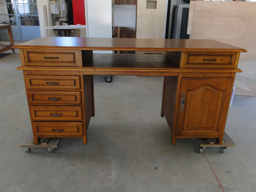 Bureau en bois style ancien sur mesure ebenisterie brettes for Meuble bureau en bois