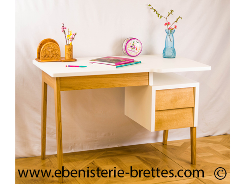 meuble bureau scandinave vintage ebenisterie brettes. Black Bedroom Furniture Sets. Home Design Ideas
