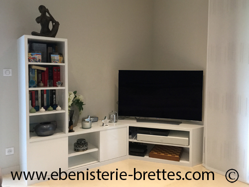 meuble tv colonne etagere ebenisterie brettes. Black Bedroom Furniture Sets. Home Design Ideas
