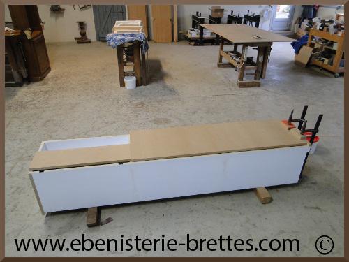 Meuble de t l vision moderne blanc avec rangements sur mesure r alis bayon - Fabrication d un meuble tv ...
