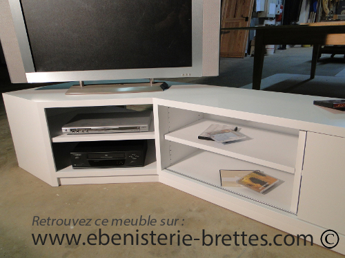 Meuble tv design blanc en angle livr bidache au pays basque ebenisterie br - Meuble d angle tv design ...