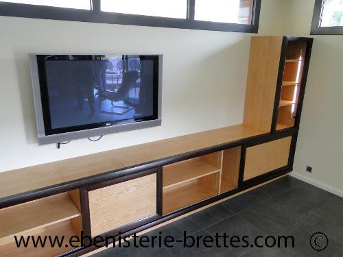 Fabrication d 39 un meuble tv et rangements moderne anglet - Meuble tele enceinte ...