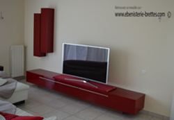 meuble tv rouge