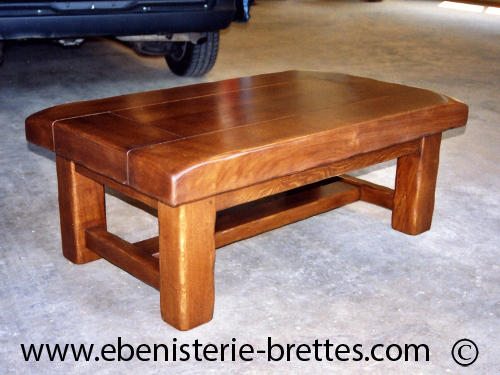 Table basse pieds carr s en ch ne massif fabriqu e pour for Table de salon en chene