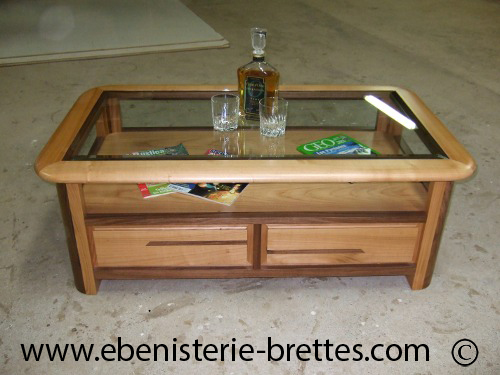 Table basse verre et bois design - Mecanisme table basse relevable ...