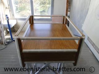 Table bois chene clair verre ebenisterie brettes - Dessus de table en verre sur mesure ...