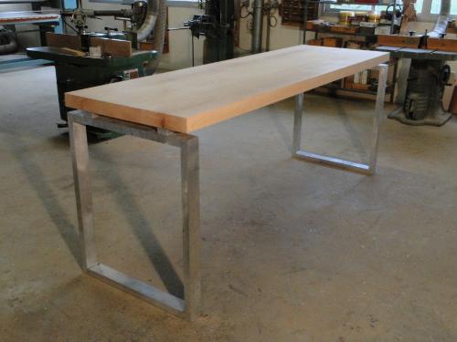 Table de repas haute en bois et metal pour levallois - Table haute industrielle bois ...