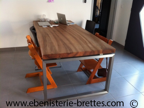 Table contemporaine sur mesure - Pied de table central inox ...